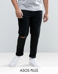 Asos Plus Super Skinny Jeans With Knee Rips Black