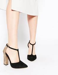 Ravel Block Heel Tbar Leather Heeled Shoes Black