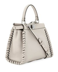 Fendi Peekaboo Medium Whipstitch Satchel Bag Light Gray