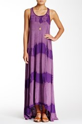 American Twist Tie Dye Hi Lo Maxi Dress Purple
