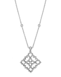 Penny Preville 18K White Gold Diamond Scroll Pendant Necklace