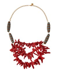 Devon Leigh 24K Gold Plated Coral And Turquoise Statement Necklace Women's