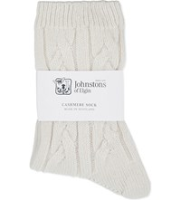 Johnstons Cable Knit Cashmere Socks Day Dream