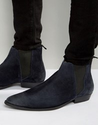 Asos Pointed Chelsea Boots In Navy Suede Navy