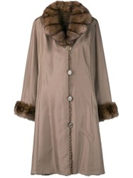 Liska Fur Collar Coat Brown