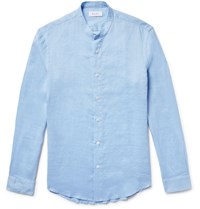 Enlist Slim Fit Grandad Collar Ramie Shirt Light Blue