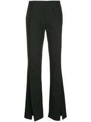 Taylor Slit Front Flared Trousers Black