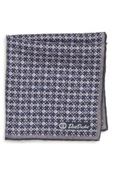 David Donahue Geometric Wool And Silk Pocket Square Charcoal