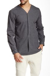 Shades Of Grey V Collar Pullover Shirt Gray