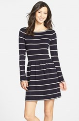 Women's Eliza J Stripe Fit And Flare Sweater Dress Navy Ivory
