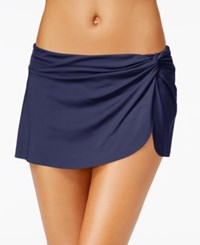 Anne Cole Solid Sarong Swim Skirt Women's Swimsuit Navy
