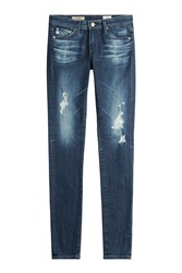Ag Adriano Goldschmied Cotton Jersey Distressed Skinny Jeans Gr. 24
