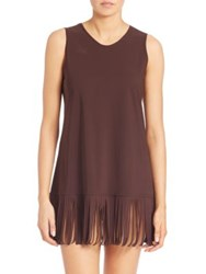 Karla Colletto Swim Fringe Shift Swimwear Chocolate