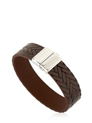 Montblanc Steel And Leather Bracelet Brown