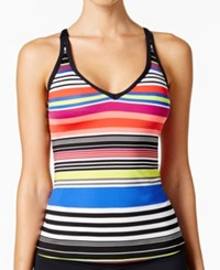 Jag Reactive Striped Cross Back Tankini Top Women's Swimsuit Island Coral
