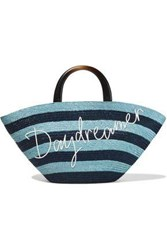 Eugenia Kim Woman Carlotta Embroidered Striped Straw Tote Teal