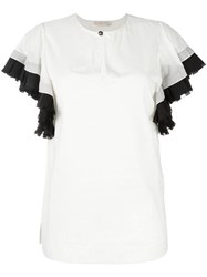 Tory Burch Frill Sleeve Blouse White