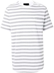 Diesel Black Gold Striped T Shirt Grey