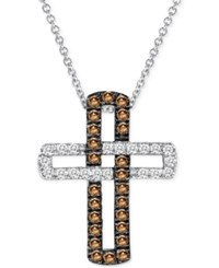 Le Vian Chocolatier Diamond Cross Pendant Necklace 3 8 Ct. T.W. In 14K White Gold No Color