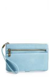 Hobo Roam Leather Wristlet Blue Blue Mist