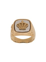 Dolce And Gabbana Crown Signet Ring Gold