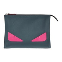 Fendi Grey And Pink Bag Bugs Pouch