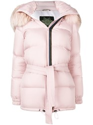 Mr And Mrs Italy Hooded Puffer Jacket Pink