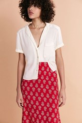 Cooperative Florence Short Sleeve Button Down Blouse Ivory