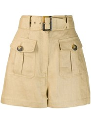 Zimmermann High Waisted Shorts Neutrals