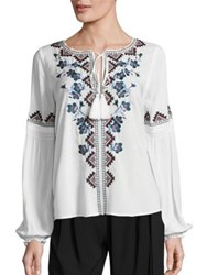 Parker Perry Floral Embroidered Blouse Ivory