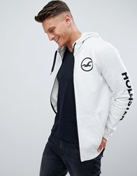Hollister Sleeve Print Logo Full Zip Hoodie In Grey Heather Grey
