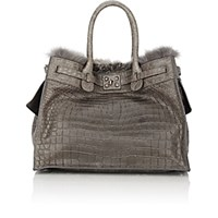 Zagliani Women's Crocodile And Fox Fur Gatsby Large Tote Grey