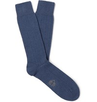 Anderson And Sheppard Ribbed Merino Wool Blend Socks Blue