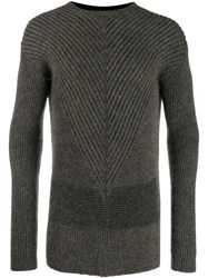 Rick Owens Ribbed Knit Sweater Brown