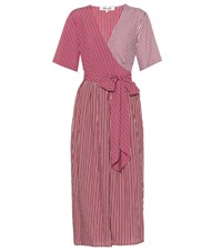 Diane Von Furstenberg Striped Wrap Dress Red