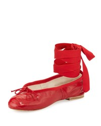 Ballet Beautiful Street Ballerina Ankle Wrap Flat Red
