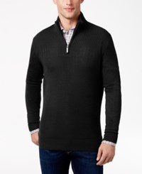 Geoffrey Beene Men's Quarter Zip Drop Needle Sweater Black