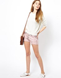 By Zoe Bleached Denim Mini Shorts Rose Pink