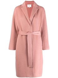 Vince Single Breasted Belted Coat Pink