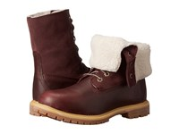Timberland Authentics Teddy Fleece Fold Down Dark Burgundy Women's Lace Up Boots Brown
