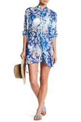 Tommy Bahama Fall Floral Tunic Cover Up Blue