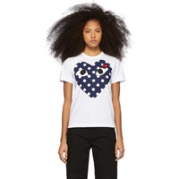 Comme Des Garcons Play White And Red Polka Dot Heart T Shirt