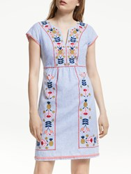 Boden Bea Linen Embroidered Dress Blue Multi