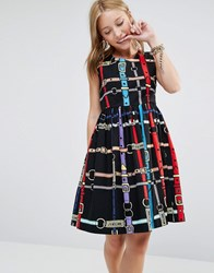 Love Moschino All Over Belt Print Skater Dress Black