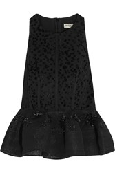 Balenciaga Embellished Mesh And Flocked Jacquard Peplum Top