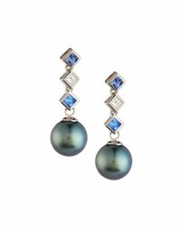 Belpearl 18K Tahitian Black Pearl Diamond And Sapphire Drop Earrings