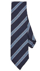 Thomas Mason Cotton And Silk Stripe Tie Navy Blue