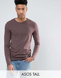 Asos Tall Long Sleeve T Shirt In Purple Dusted Truffle Brown