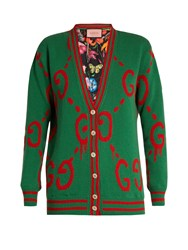 Gucci Gg Wool And Printed Silk Reversible Cardigan Green Multi
