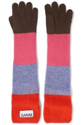 Ganni Ribbed Striped Wool Blend Gloves Red